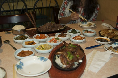 Galbi and Bulgogi with all the sides