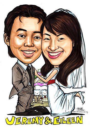 Couple wedding caricatures Hello Kitty Dear Daniel A4
