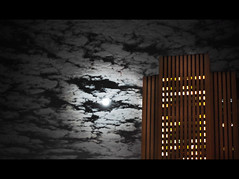 NYC Howl. (Vitaliy P.) Tags: new york city nyc moon night clouds nikon downtown shot explore explored d80 vitaliyp