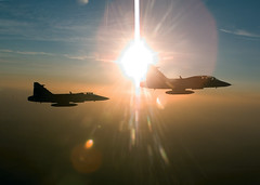 DMP-DG0-38 GRIPENS (damopabe) Tags: sunset sun against sunrise sundown aircraft flight planes fighters