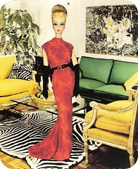 barbie in the lounge (lorryx3) Tags: red green glass yellow table barbie couch blonde zebra rug reddress dreamhouse