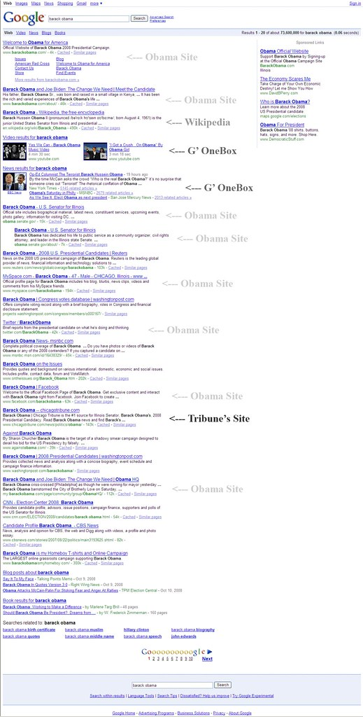 Barack Obama Search Results on Google