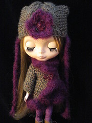 Purple and brown Madge jacket and hat