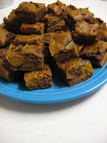 Chocolate Pumpkin Cheesecake Brownies, Chow Down