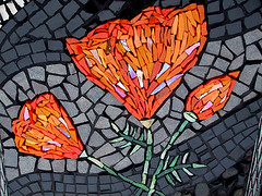 CALIFORNIA DREAMIN'  - detail (Studio Fresca) Tags: california orange black art stone silver mosaic gray pebble poppy poppies iridescent glazedtile smalti metalictile