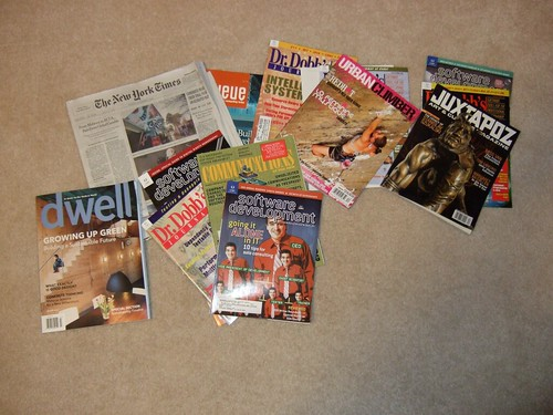 magazines on floor