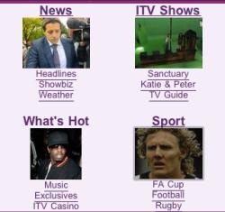 ITV mobile menu