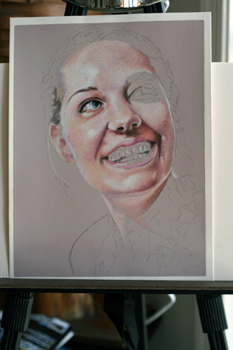 Photo of in progress colored pencil drawing entitled Rachel.