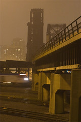 Air Line (Nick Suydam) Tags: railroad bridge chicago motion blur fog night speed train illinois streak foggy amtrak transportation transit commuter passenger wye stcharlesairline tiltviewer