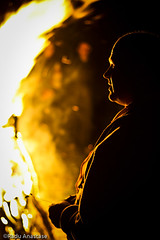 Yellow shadows (Radu Anastase) Tags: light shadow sky man night fire romania tulcea