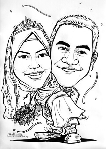 Maly wedding couple caricatures in ink 141108