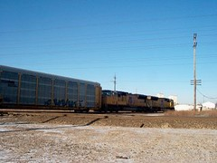 Northbound Union Pacific auto rack train. Mc Cook Junction. Mc Cook Illinois. January 2007.
