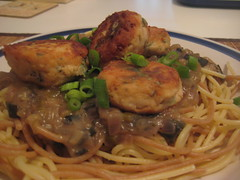 Four Onion Spaghetti w/ Soy Bombs (aka Tofu 'Meat'balls)