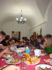 The group enjoys a Thanksgiving feast.