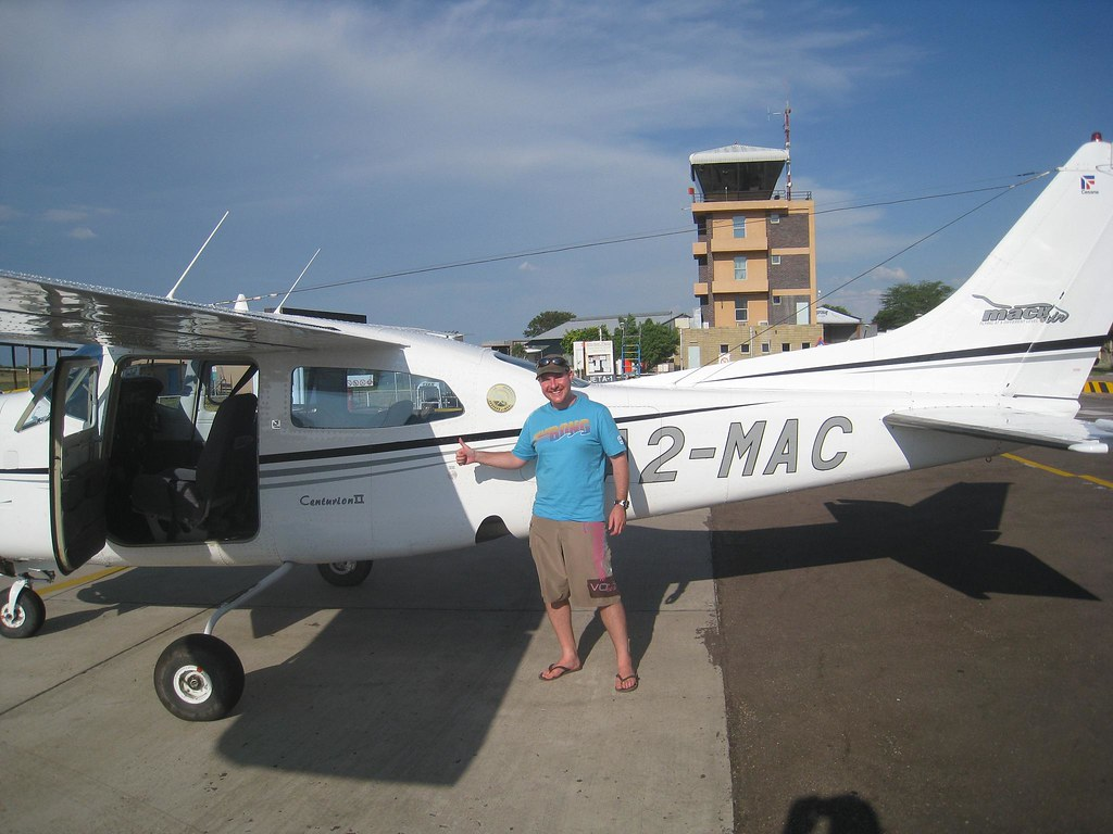 Photo-op at the Maun Airport after my scenic flight over the Okavango Delta in Botswana