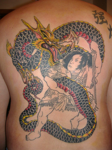 Dragon/ Samurai Back Tattoo Session #3