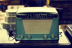 Summer Sound [Large View] (Brandon Christopher Warren) Tags: old blue summer music color art broken radio vintage four nc happiness grill faded cables numbers rusted sound tuner knobs dials lightblue antiquemall asheboro personification summersound kilocycles megacycles canon5dmarkii interlacedgrill