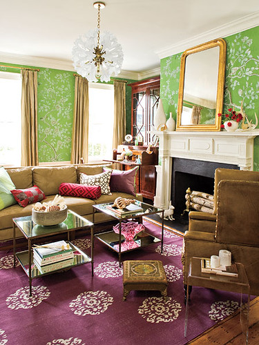 the estate of things chooses southern living purple & green room