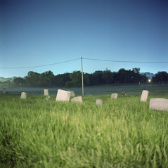 (patrickjoust) Tags: city urban usa color green 120 6x6 tlr film overgrown cemetery grave grass night analog america dark square lens us reflex md focus long exposure fuji mt mechanical united release tripod tomb north patrick twin maryland auburn cable baltimore mount mat v 124g epson after medium format states tungsten manual 500 westport 80 joust tombstones yashica estados 80mm f35 fujicolor unidos npl yashinon v500 160t autaut patrickjoust