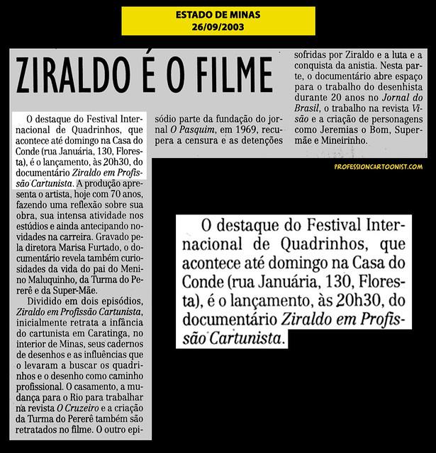"""""""Ziraldo é o filme"""" - Estado de Minas - 26/09/2003"""