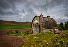 Classic Palouse Barn From Last Year HDR (Fresnatic) Tags: storm clouds barns oldbarns pacificnorthwest hdr lightroom wheatfields stormyskies oldtrucks photomatix thepalouse colfaxwashington hdraddicted canonrebelxsi fresnatic photoshopcs5