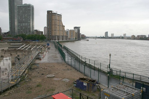 The fenced off riverside route