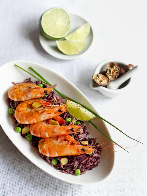 Black rice & Tiger Shrimp Thai Style