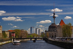 [ postcard from berlin ] ([ chang ]) Tags: bridge blue sky cloud berlin tower river germany skyscape deutschland nuvole nuvola blu fiume ponte cielo fernsehturm spree germania televisiontower berlino wwwriccardoromanocom