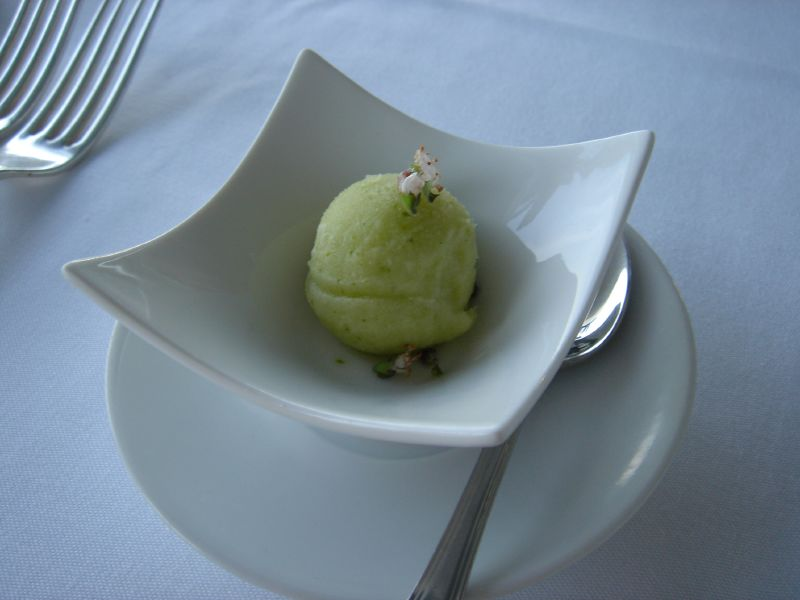 ... is Amuse Bouche three, a refreshing basil lime sorbet pallet cleanser