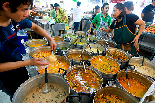 The variety of curries for sale at Mae Malee, a longstanding stall at Bangkok's Or Tor Kor Market