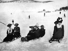 Ladies' toboggan race (Powerhouse Museum Collection) Tags: trees winter girls blackandwhite snow ice broken sports fashion century children photography women skiing lace hill victorian hats 1900 sledding recreation staged bows feminist cracked sleds 19th powerhousemuseum skiers womensday contests glassplatenegative kiandra xmlns:dc=httppurlorgdcelements11 tobogganning practicalleisurewear dc:identifier=httpwwwpowerhousemuseumcomcollectiondatabaseirn80826 agneseastwood adapattinson philomenakilfoyle marykilfoyle amypattinson lefttorightagneseastwoodadapattinsonphilomenakilfoyleunknownpersonmarykilfoyleconcealedmaleandamypattinson captionable charleshkerry womeninwinter womensledding