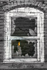 Hope (just.Luc) Tags: orange white streetart black building brick art texture abandoned broken window glass yellow wall hope graffiti paint candle quote painted tag bricks textures flame derelict reset alberteinstein abigfave articulateimages