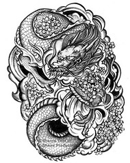 Eastern Dragon (shaire productions) Tags: flowers original urban blackandwhite detail art classic floral monochrome animal tattoo illustration clouds pen pencil ink asian japanese design artwork graphics waves dragon graphic designer drawing traditional flames blossoms chinese style dragons monochromatic line east korean fantasy scales thai sakura illustrator draw drawn custom eastern tat productions sherrie graphite cultural vellum prod detailed onionskin tattooing irezumi linework sherriethai shaire shaireproductions