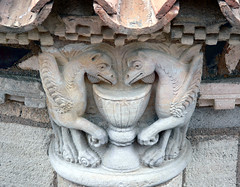 Gryphons, Detail of the Roman Basilica of the Notre Dame Du Port, Clermont Ferrand, Auvergne, France - Classified in 1998 by UNESCO, as World Heritage