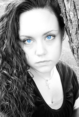 Why hello there! (savtheplanet01) Tags: blue blackandwhite selfportrait tree backyard haha but idk selectivecoloring dontreallylikeit ilovethistree makesmenervous postingthispic bigforeheadagain youcantescapeit ormoresoicantescapeit itsattachedtome