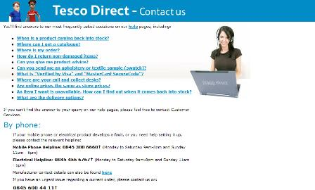 Tesco contact details page