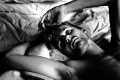 Rik (TGKW) Tags: portrait people blackandwhite man male hair naked nude bed curly topless rik