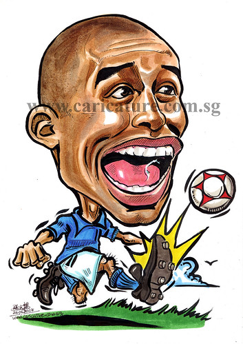 Caricature of David Trezeguet colour watermark