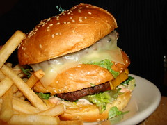 """Tons of Fun Burger"" at the CheeseCake Factory. (Harvey-Harv) Tags: food dinner frenchfries hamburgers meltedcheese bigburgers bugers hamburgerbuns tonsoffunburger cheescakefactoryrestaurants"