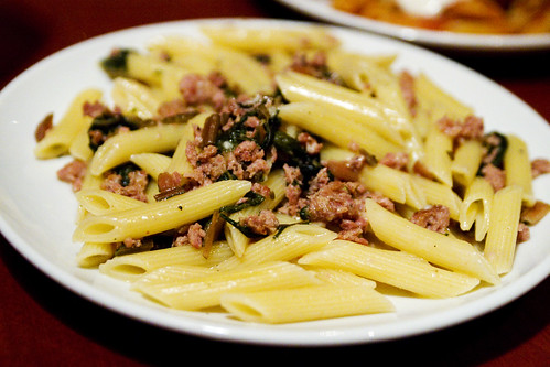 penne con sausage and swiss chard