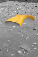 Standing Out (Gavin Ritchie) Tags: blackandwhite bw shells beach monochrome yellow lost boot scotland pentax fife samsung wellington rubbish leuchars greyscale desaturate wellie sele