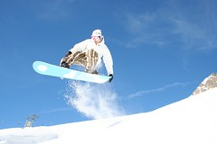 Fly Blue Sky I (aLexDoULoU) Tags: blue sky white speed austria jump action smooth fast snowboard stanton arlberg