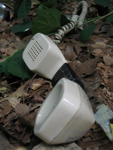 Telephone handset in the woods