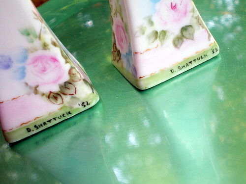 Vintage Handpainted Porcelain Salt & Pepper Shakers (two)