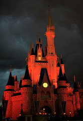 Disney - Orange Cinderella Castle at Dusk