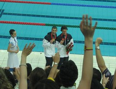 Phelps and Lochte (Incase.) Tags: water pool bronze swimming gold arms beijing olympics michaelphelps cheering phelps ryanlochte goincasecom lochte