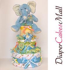 JUNGLE ELEPHANT DIAPER CAKE! front view