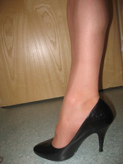 Black four inch courts (Rachael 1968) Tags: rachael stockings heels crossdresser nylons micromesh