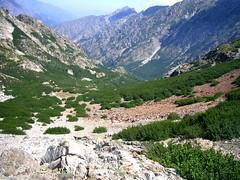 La haute vallée de la Gravona, depuis Bocca Lagione (chemin balisé jaune y descendant)