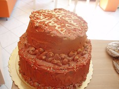 Red and gold two-tiered birthday cake (Hey Liz!) Tags: red birthdaycake redcake